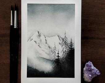 Snowy mountains winter landscape watercolor print