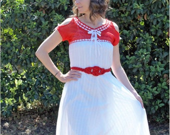 40s Red and White Chrochetband Cotton Dress
