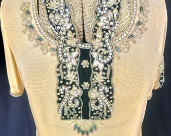 1920s Hand Beaded Chiffon Dress