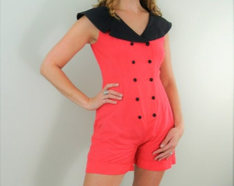 Retro Sailor Romper Pink with a Black Sailor Collar and Double Button Front (Extra International Sportswear)