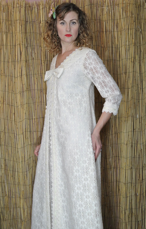 Vintage 70s Lace Hawaiian Wedding Dress, Carol & Mary Honolulu Off ...