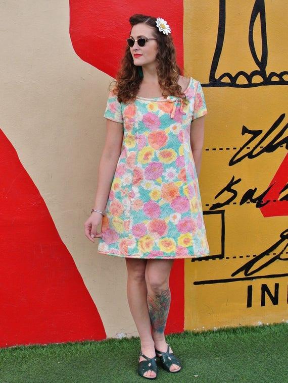 Vintage 60s Pastel Floral MOD Mini Dress - image 2