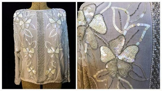 8ab079fb0 Vintage Sequin Blouse   Etsy
