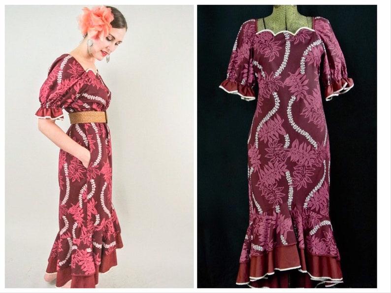 4e930c93fb0d6 Vintage Hawaiian Tiki Maxi Dress with Scallop Neckline Ruffle | Etsy