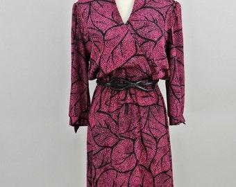 Vintage MOD Fuchsia & Black Leaf Pattern Dress (Lady  Carol of New York)