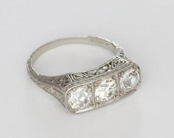 bb3c726ed Vintage Edwardian 3-Stone Diamond Ring, 1.46 carats