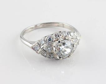 Vintage Art Deco Diamond Engagement Ring, 1.01 ct H SI2
