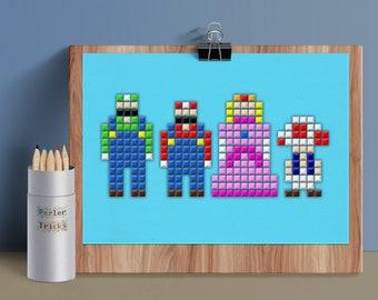 Princess Peach Pin Pixel Art Mario Kawaii Brooch Perler Hama