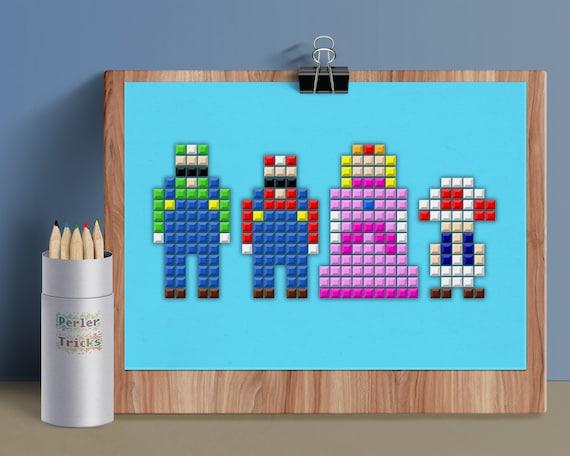 Super Mario Bros 5x7 Postcard Digital Print Minimal Pixel Series 8bit Pixel Art Mario Luigi Princess Peach