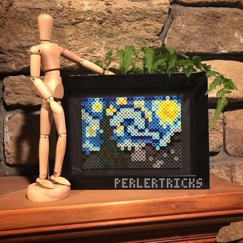 The Starry Night Perler Bead Framed Art - Vincent Van Gogh painting pixel 8  bit art history geekery hama beads fuse home decor PerlerTricks
