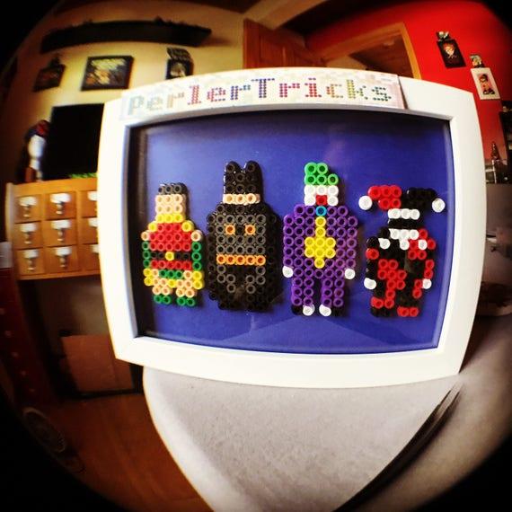 Batman Robin Joker & Harley minimalism pixel art geek framed artwork 8 bit  Perler beads PerlerTricks