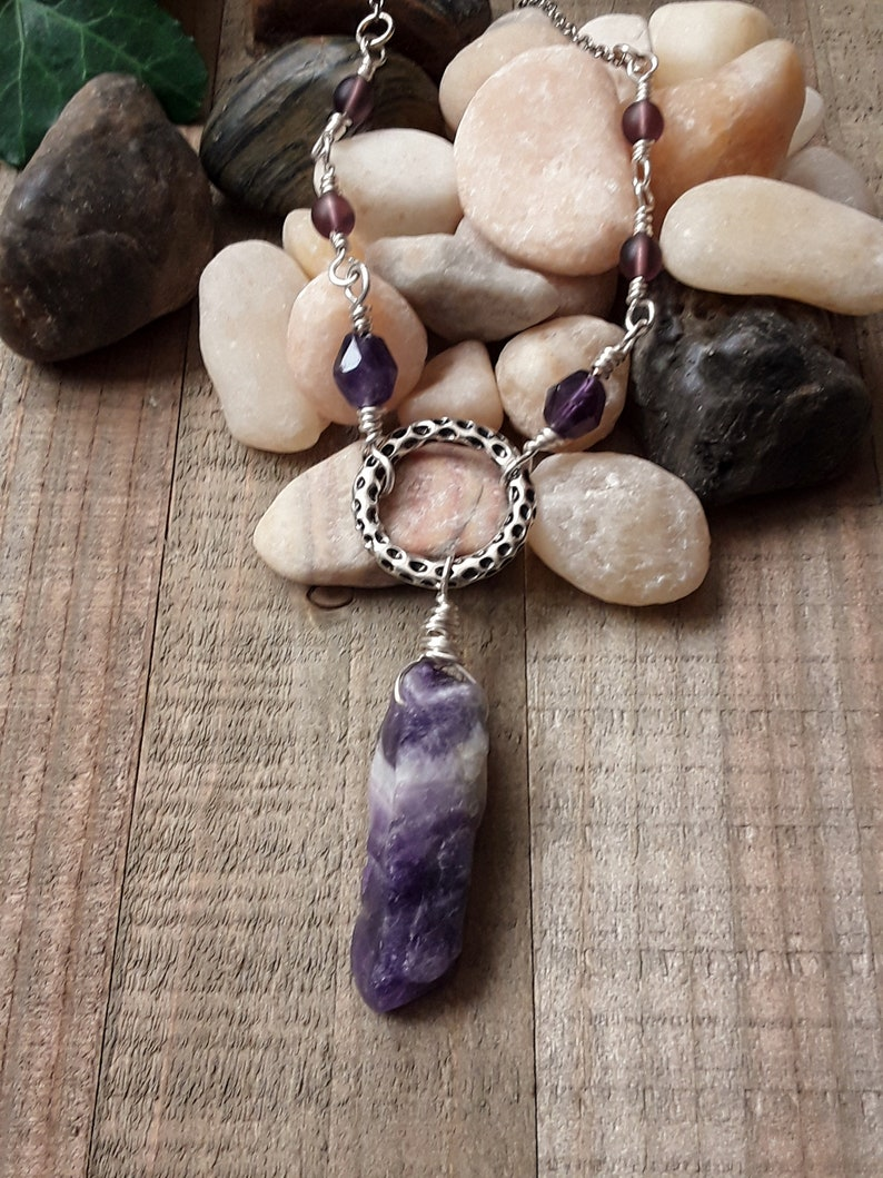 Trendy Necklace Amethyst Necklace Gift for Her Amethyst and Silver Necklace