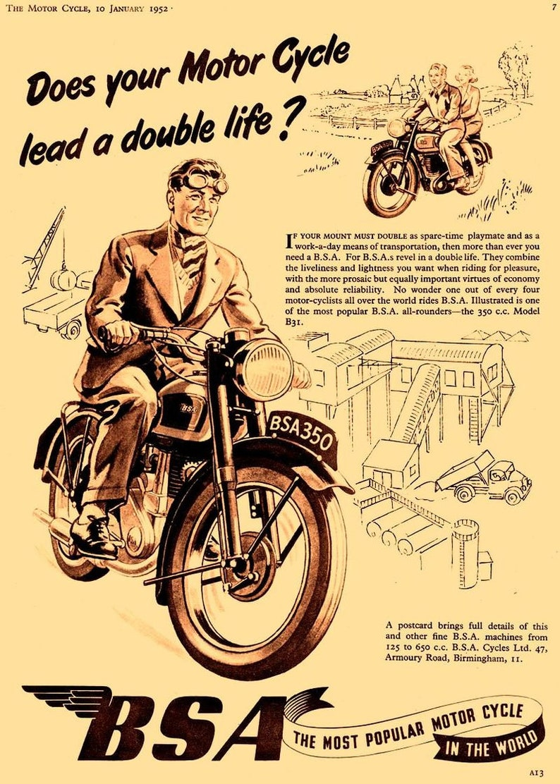 BSA Motorcycle Old BSA Advertising Poster reproduction