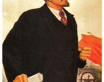 Vintage Soviet Russian Communist Lenin Political Poster, Revolution Art Reproduction Print A4
