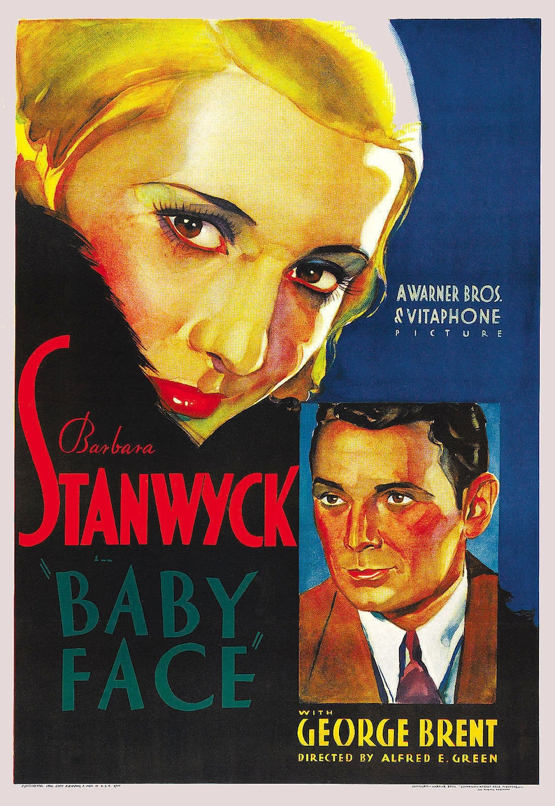 Barbara Stanwyck Baby Face 1933 Film Vintage Movie Poster Print Picture A3