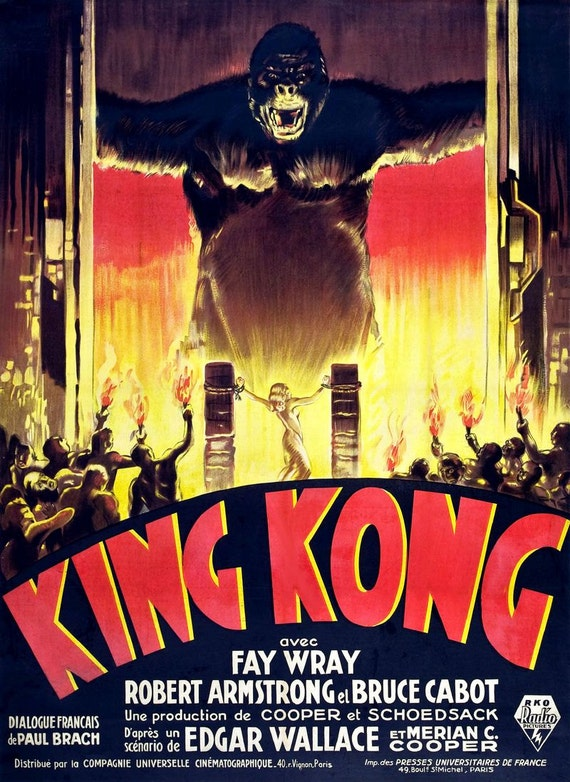 King Kong 1933 Movie Film Fay Wray Reproduction Movie Poster Vintage Wall Art Print Home Decor A3 A4
