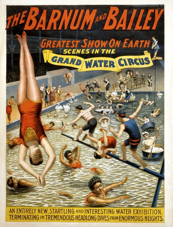 Vintage Circus Carnival Poster Coney Island Diving Swim Art Print Picture A3 A4