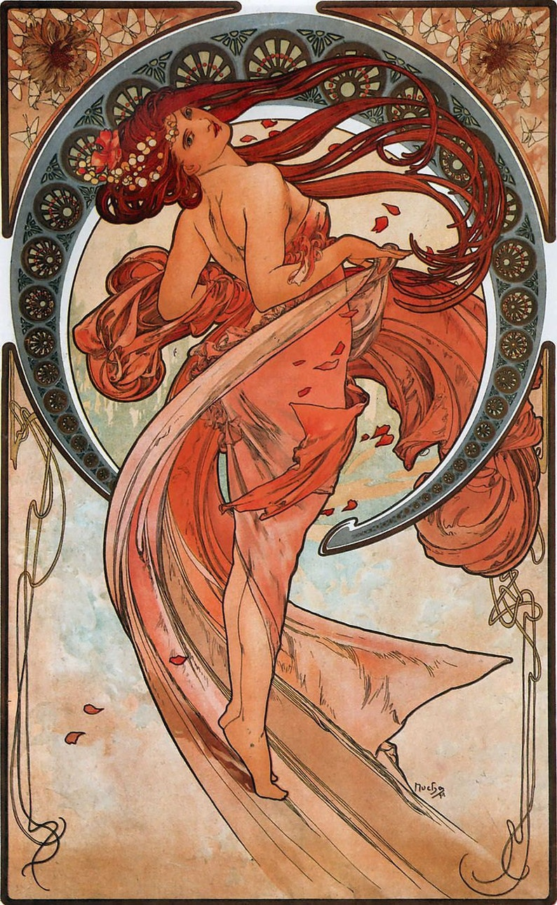 Art Nouveau Vintage Wall Poster Reprint Mucha Times of the Day Various sizes Kunst