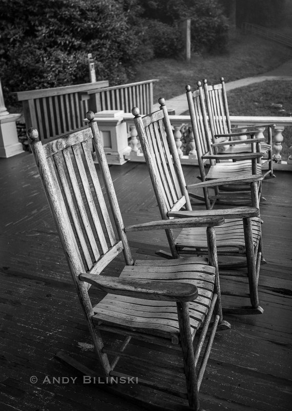 Excellent Front Porch Rocking Chairs Blue Ridge Parkway Print Black And White Photograph Home Decor Wall Art Nc Mountains Creativecarmelina Interior Chair Design Creativecarmelinacom