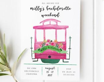 Bachelorette Weekend Invitation,San Francisco Bachelorette Party invitation/San Fran Invitation Bachelorette/California Bachelorette Invite