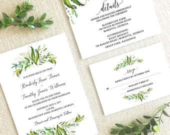 Greenery Wedding Invitation Suite,Wedding Suite with Greenery,Greenery and leaves wedding invitation suite,Watercolor greenery wedding suite