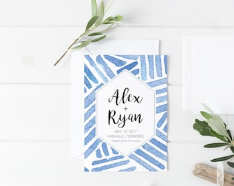 Save the Date Template, Blue Watercolor, Watercolor Save the Date, Watercolor Wedding, Save the Date Cards, Save the Dates, Save the Date