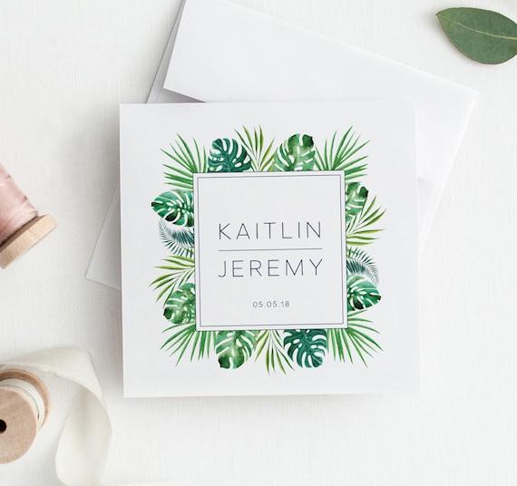 Palm Leaf Wedding Logos Watercolor Wedding Logo Wedding Heraldry Palm Leaves Tropical Logo tropical wedding logo Beach Wedding Logo