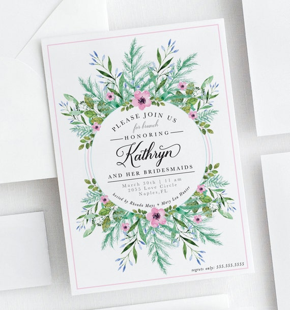 floral and greenery bridal brunch invitation floral etsy