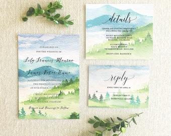 Watercolor Mountain Wedding Invitation Suite,Mountain Wedding Invitation Suite,Mountain Invitation Suite,Wedding in the mountains Invitation