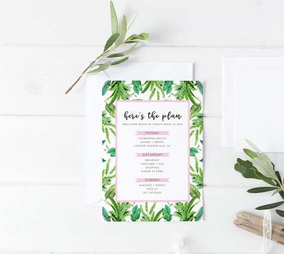 Tropical Palm Leaf And Pink Bachelorette Party Itinerary