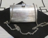 1970s- 1980s Silver Metallic Shoulder Bag Clutch- Made in Italy- Silver Leather Lining- One Pocket- 4 3 4 quot L X 3 1 4 quot T X 21 4 quot W-