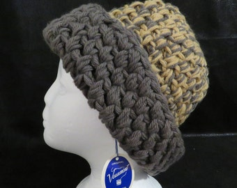cbb92b5e Vermont 100% Wool Hat- Hand Crocheted- Beautiful Tan & Gray Color-  Excellent Vintage Condition- Never Worn- Very Warm