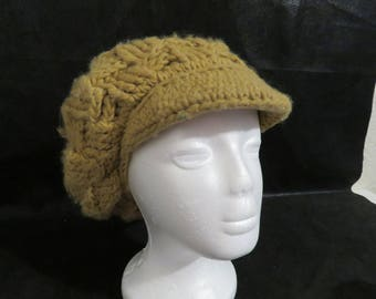 16197c1c3c9 Vintage 70 s Knit Cap with PomPom on Top- Tan Brown Color (Represents the  70 s!)-Very Good Vintage Condition- Elastic Still Gives.