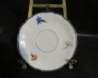 "Vintage Leuchtenburg Platinum Single Saucer Only Porcelain - 5 3/4"" Across-  Good Vintage Condition- Floral Pattern with Platinum trim"