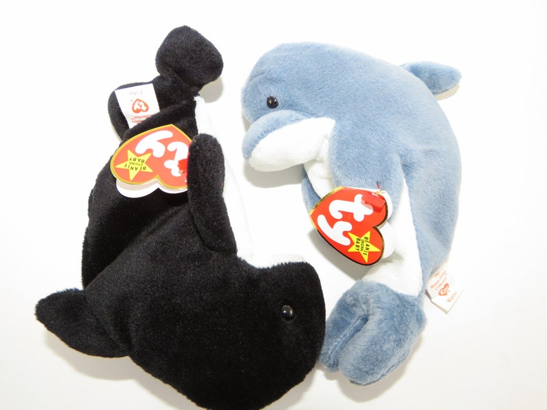 Ty Beanie Babies Waves and Echo Set Rare Set Whale says Echo  356a23d8b784