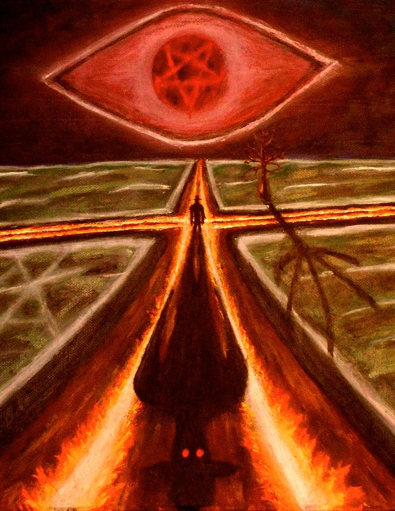 crossroads, the deal, devil, satan, deal with the devil, the crossroads,  legion, scary, evil, painting, acrylic, print