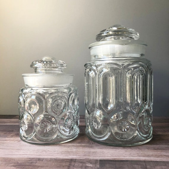 Le Smith Moon And Stars Clear Glass Canister Set Of 2