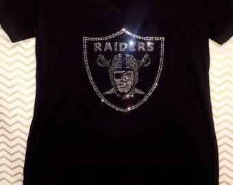 Oakland Raiders Rhinestone V-neck top