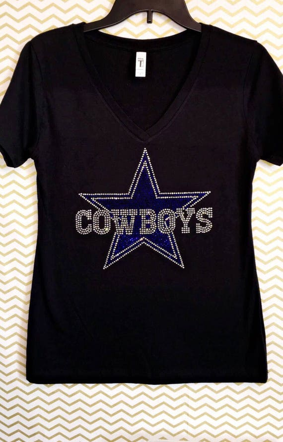 165f7a433 Rhinestone bling Cowboys V-neck shirt