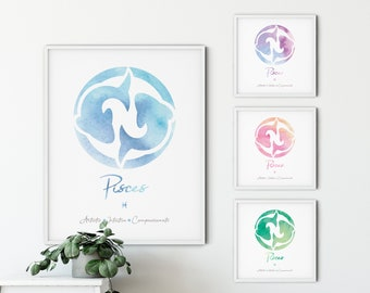 Pisces Picture Frame Zodiac Sign Landscape Or Portrait Horoscope Gift 278