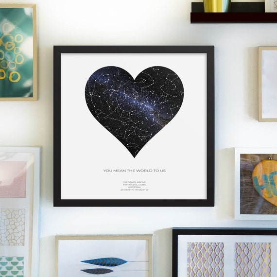 Heart Shaped Custom Star Map, Realistic Night Sky Map, Full-Color Star  Poster, Constellation Map, BLACK SQUARE FRAME