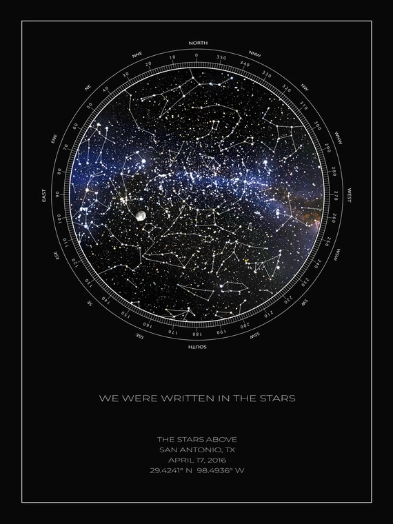 REALISTIC Custom Star Map, Constellation Poster, Night Sky Map, Personalized on star map poster, constellation map poster, michigan lighthouse map poster,