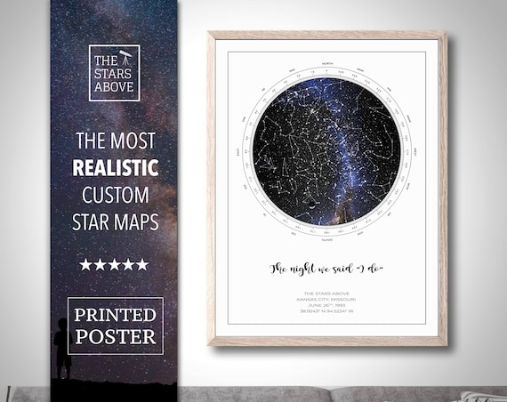 Anniversary Gift For Husband, Custom Star Map, Anniversary Gift Ideas For Men, 1st Anniversary, Personalized Anniversary Gift | Art Print by Etsy