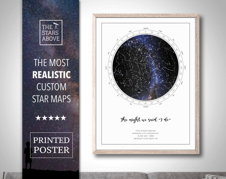 Custom Star Map, REAL Night Sky, Night Sky Map, Constellation Poster,  Constellation Map, Personalized Gift, Unique Gift, PRINTED POSTER