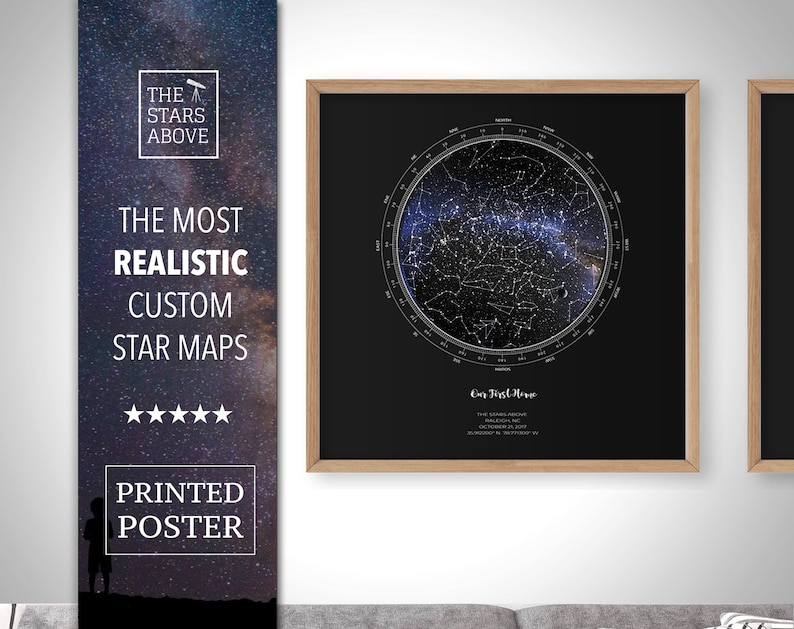 Custom Star Map in Square Design, Realistic Night Sky Poster, Full-color  Constellation Map, Personalized Anniversary Gift, PRINTED POSTER