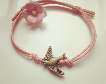 blogger pendant swallow vintage statement fly Bracelet made of waxed cotton in pink with a swallows