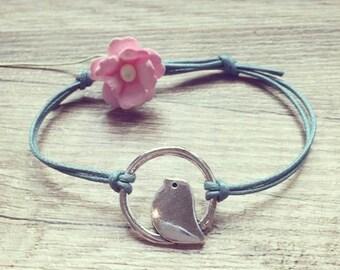 blogger statement, Bird circle bracelet bracelet in petrol silver stainless steel bird in a circle vintage