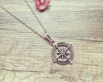 Short chain compass silver, stainless steel, compass, maritim, vintage, blogger, statement