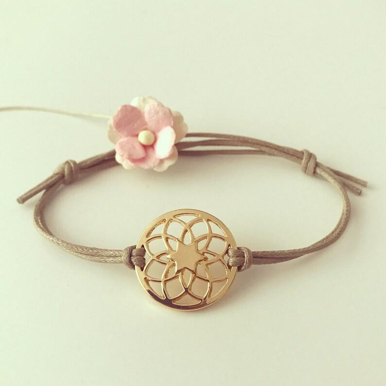 brass Dream catcher bracelet in beige gilded culture nature travel plant travel dreamcatcher waxed cotton
