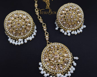 Indian Bollywood Gold Ton 22k  White Raani Haar Necklace Earrings Maang Tikka